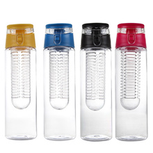 800ml Water Bottle Fruit Infusing Infuser Water Sports Lemon Juice Bottle Flip Lid for Kitchen Camping Outdoor Travel
