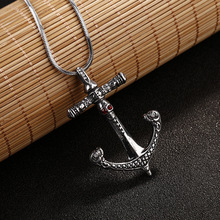 Necklace--Hot Sale Male and Exaggerated Personality of High-end Fashion Retro Skull Anchor Titanium Necklace#2110336