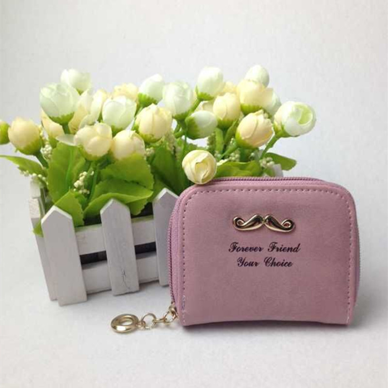 New women wallets nubuck Leather zipper wallet fashion cute mustache colorful small purse CC2574<br><br>Aliexpress