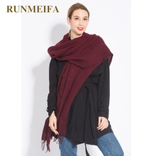 [RUNMEIFA] 2017 The new design women sjaals Vermilion red colored acrylic fashion style tassel shawl scarf safe comfortable(China)