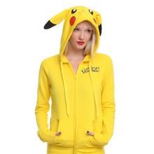 Fashion Women Jacket Yellow Harajuku Solid Pokemon Pikachu Printed Costume Tail Zip Totoro Hoodies Sweatshirt Sudaderas Mujer XS