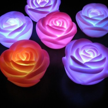 1 x Decoration Rose Design Mini Light Romantic Colors Changing LED Lamp Candle Light Rose Flower Nightlight VC472 P25
