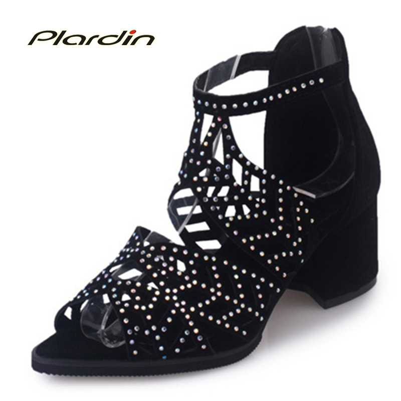 plardin New summer Women string bead square heel Pumps Sexy  Shoes Pointed top Cross-tied Zipper for woman heels shoes sandal <br>