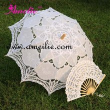 Battenburg Lace Parasol and Fan Sun Umbrella Set Bride Adult size Vintage(China)