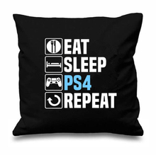 Novelty Game Gift Letter Eat Sleep PS4 Playstation Repeat Cushion Cover Geek Funny Gaming Gamer Gifts Home Decor Video Games 18""