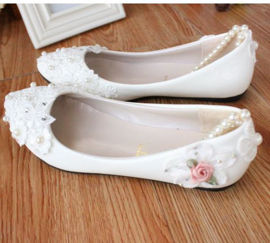 White lace flowers girl flats shoes for birthday party proms occassion, ladies bridal flats shoe, TG053 beading pearls bracelets<br><br>Aliexpress