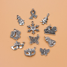Buy Christmas tree eyes snowman Charm Collection Antique Silver Tone 11 Different necklace pendant DIY jewelry handmade for $1.43 in AliExpress store