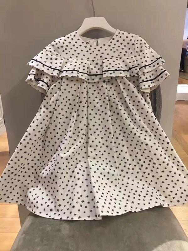 2018 New Spring Summer Embroidery Stars Pattern Dress A-line Girl Dresses High Quality Princess Girls Fashion Dress <br>