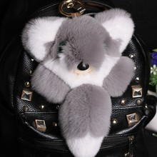 Real Mink Fur Monster Pom Fox Doll Toy Keyring Keychain Bag Car Charm Pendant Grey