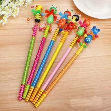new 12pcs/lot Wooden Animals kawaii students Pencil With Shakable Head children cute study Cartoon Personality kids pencil gifts(China)