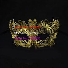 Golden Venice Laser Cut Metal Mask With Rhinestone Hollow Out Half Face realistic sexy female masks Party sexy masquerade masks
