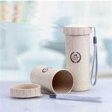 2017 Hot Sell 360Ml Green Wheat Fiber Cups Portable Hand Cups With Coffee Mugs Creative Couple Cups Gift Kettle 7.5*13.2Cm