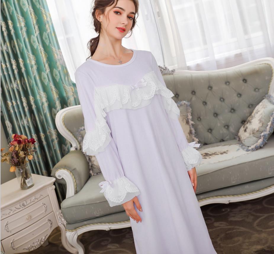 Women's Sleepwears Nightgowns & Sleepshirts Female Thicken Winter New Bow Sweet Style Sleep Dress Silver Fox Velvet Long Sleeve O-neck Nightgowns Home Clothes Gx1331