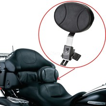 Motocycle leather Plug In Driver Rider seat Backrest Kit Custom Made For Harley Touring FLTR FLHT FLHR models(China)