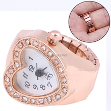 Copper Tone Heart Shape Housing Elastic Band Finger Ring Watch For Women -W128(China)