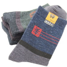Men wool socks winter thermal warm high quality fleece socks bulk men's ankle thick cotton socks men wholesale(China)