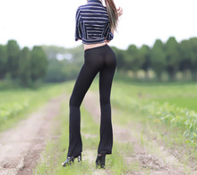 Sexy Hips Women Semi See Through Sheer Pants Leggings Lingerie Flare Pants Leg Trousers Shiny Bell-bottoms Ice Silk Club Wear