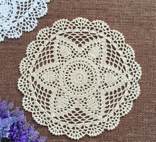 30CM Round Lace Hand Crocheted Doily Placemat Vintage Floral Coasters Home Coffee Shop Dining Table Decorative Gadgets