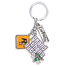 HSIC JEWELRY 10pcs/lot PS4 GTA 5 Game keychain Grand Theft Auto 5 Keychains For Fans Xbox PC Rockstar for Men Jewelry 4.5*4cm(China)