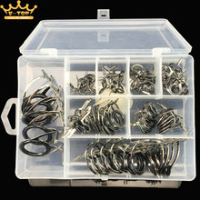 75PCS Fishing Casting Spinning Rod Guide Set Stainless Steel and Ceramic Guide Hole Over Wire Loops Suit Fishing Rod Fittings