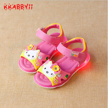 KKABBYII New Summer Girls Sandals Cute Kids Led Shoes Baby Lovely Cartoon Hello Kitty Shoes Children Casual Sandals