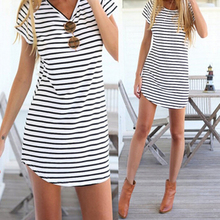 Shirt Striped New Casual O-Neck Short Sleeve Loose T-Shirt For Women Girls Black White
