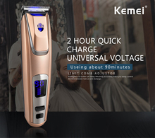 Kemei PG-102 LED Display Hair Clipper Lithium-ion Battery Hair Trimmer USB/Adapter Charge Beard Trimmer With Headlight 110-220V(China)