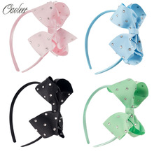 4pcs/lot Girl Boutique Hairband 4inch Rhinestone Hair Bow With HairbandS Handmade Kids Headband Hair Accessories()