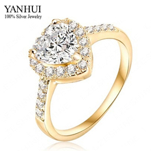 YANHUI Romantic Heart Engagement Ring Real 24K Gold Filled 10mm Heart CZ Diamant Wedding Ring For Women RING SIZE 6 7 8 9 YR047(China)