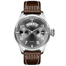 Watch Men Fashion Sport Waterproof Men Casual Watches Top Brand Business Leather Band Pilot Quartz Wrist Watch Relogio Masculino(China)