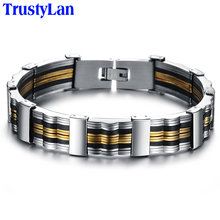 TrustyLan New Fashion Gold Color Jewelry For Men Link Chain Bracelet Men Best Friends Male Bracelets 2017 China Air Express(China)