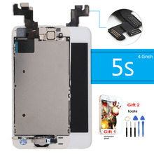 For iPhone 5s Screen LCD Display for iphone 5s lcd Touch Digitizer highscreen Assembly + Home button Front Camera Speaker gift