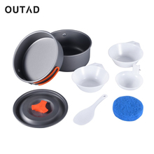 OUTAD 8pcs Outdoor Camping Hiking Cookware Backpacking Cooking Picnic Bowl Pot Pan Set Lightweight Portable Compact(China)