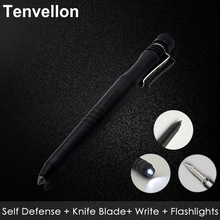 Tenvellon Self Defense Supplies Tactical Pen EDC Tool With Tungsten Steel Knife LED Flashlight Security Protection Self Defence(China)