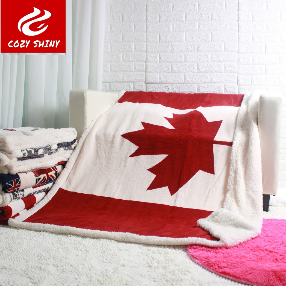 Double layer thick canadian maple leaf canada flag sherpa plush throw blanket 130x160cm<br><br>Aliexpress