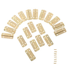 20Pcs Gold Furniture Hinges for Box Door Butt Decorative Small Hinge for Cabinet Drawer Furniture Hardware with Screw 37mmx17mm