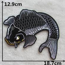Buy New Arrival cartoon black carp patches embroidery applique clothes ironing DIY sewing patch clothing accessories 1pcs sale for $1.59 in AliExpress store