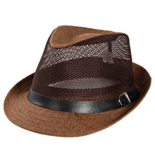 Head Circumference 58cm Cowboy Style Men's Breathable Eyelet Sun Cap Straw Fedora Hats with Leather Belt,Brown Khaki Beige