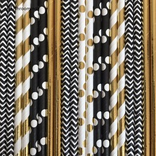 Black Paper Straws Foil Gold Party Straws Set of 25 Party Paper Straws Chevron Dots Striped Solid Black and Gold Party Decor(China)