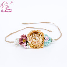 1 pcs Floral Tie back headband nuetral flower crown girl fabric flower headband hair accessories Newborn photo prop