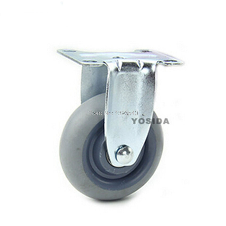 New 4Swivel Wheels Caster Industrial Castor Univeral Wheel Fixed Artificial Rubber Rolling Heavy Caster Double Bearing Wheel<br>