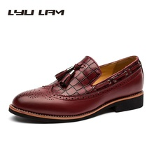 Roman Style Red Boat Shoe Men Carved Oxford Leather Men Slip-On Casual Full Brogue Shoe Pointed Toe Handmade Elegant Sperry Shoe(China)