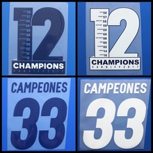 New 12 champions cardiff 2017 La Liga CAMPEONES 33 football number name font print, Hot stamping Soccer patches badges