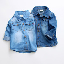2017 New Arrival Baby Boys Denim Shirt Long Sleeve Turn Down Collar Casual Shirt For Boy 2T 3T 4T 5 6 7 Spring Summer Kids Top(China)