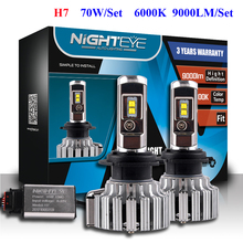 NIGHTEYE 2pcs Led Chips H7 LED Headlight Kits Auto Styling H7 Head Light Car Bulbs Fog Lamps Fanless 6000K Car Headlamps