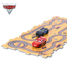 2017 Disney Pixar Cars 3 Macqueen Jackson 2PCS Electric Slot Cars Toys for Boys Children with 10PCS Tracks DIY Educational Gifts(China)