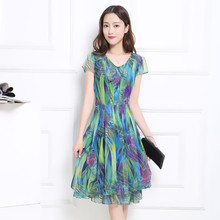New Women's Clothing Spring Summer Fashion Chiffon Flowral Printing Dresses Plus SizV-neck Puff Sleeve Dress Female 4XL