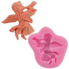 Angel Girl Wind Trumpet Silicone Fondant Soap 3D Cake Mold Cupcake Jelly Candy Chocolate Decoration Baking Tool Moulds FQ2934