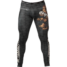 MMA Boxing Bear pattern personality breathable men's sports tight training pants fitness stretch Fight muay thai boxing mma