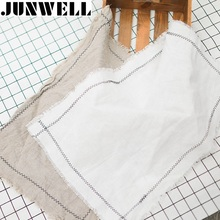 4PCs Set Junwell Linen Embroidery Table Napkin Solid Single Layer One Side Placemat